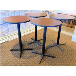 "Qty 4 Round Wooden Tables w/ Metal Pedestal Base 30""Diameter x 47""H"