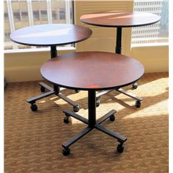 """Qty 3 Sico Socializer Tables w/ Rolling Base, Adjustable Ht, 36""""Dia x 40""""H"""