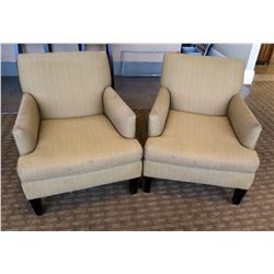 """Qty 2 Lee Industries Wooden Upholstered Lounge Armchairs 29""""Lx22""""Wx35""""H"""