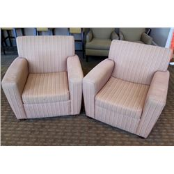 """Qty 2 Upholstered Lounge Armchairs 35""""Lx22""""Wx37""""H"""