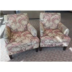 """Qty 2 Floral Wooden Upholstered Lounge Armchairs 28""""Lx22""""Wx34""""H"""