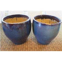 "Qty 2 Round Blue Ceramic Planters 23"" Diameter x 24""H"