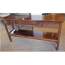 """Wooden Console Table w/ Undershelf & 4 Drawers 62""""Lx14""""Wx33""""H"""