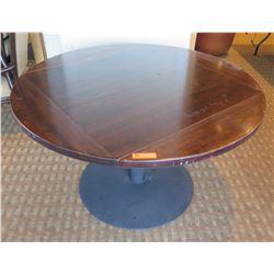 "Round Wooden Table w/ Fold Down Leaves & Metal Pedestal Base 50""Dia x 30""H"