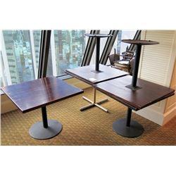 """Qty 5 Square Wooden Tables w/ Metal Pedestal Base 36""""Diameter x 30""""H"""