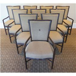 Qty 10 McGuire Wooden Upholstered Armchairs