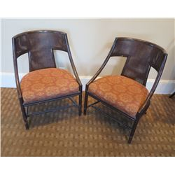 """Qty 2 McGuire Armchairs w/ Upholstered Seat 24""""Lx19""""Wx34""""H"""