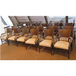 """Approx. 24 Wooden Armchairs w/ Woven Back & Upholstered Seat 24""""Lx19""""Wx35""""H"""