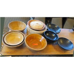 Qty Approx 7 Wood & Ceramic Round Bowls Misc Sizes & Bamboo Steamer