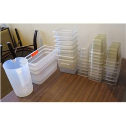 Multiple Hard Plastic Food Storage Stackable Containers Misc Size & Pitcher
