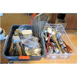 Qty 2 Bins Utensils: Spatulas, Tongs, Serving Spoons, Meat Tenderizer, etc