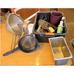 Bin Kitchen Tools: Strainers, Whisk, Spray Bottle, Metal Container, Small Pan, etc