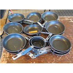 Approx. 15 Qty Frying Pans Misc Sizes & 2 Sauce Pots
