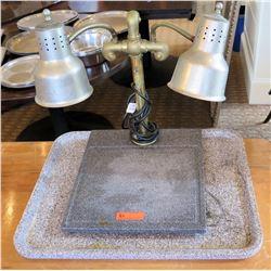 "Double 115V Heat Lamp Model DL3A w/ Stone Base & Husky Cord 18""Lx22""Wx24""H"