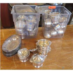 Qty 2 Bins Multiple Metal Creamers, Sugar Bowls w/ Lids & Oval Side Dishes