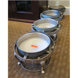 """Qty 4 Round Footed Chafing Dishes w/ Attached Dome Lids 15"""" Diameter x 15""""H (Open)"""