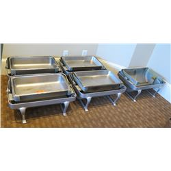 """Qty 5 Rectangle Chafing Dishes w/ Attached Dome Lids 21""""Lx15""""Wx15""""H (Open)"""