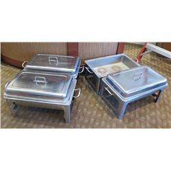 """Qty 4 Rectangle Chafing Dishes w/ 3 Lids 22""""Lx14""""Wx10""""H (Open)"""