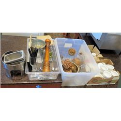 Misc Kitchen: Ramekins, Sugar Bowls, Pepper Mill, Metal Containers, Glass Cylinders, etc