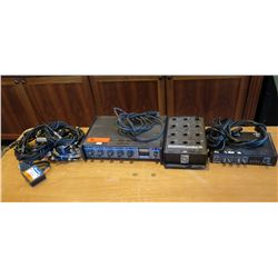 Qty 2 SHURE Microphone Mixers, Whirlwind PressBox 12, MuxLab VGA Blaun II, etc