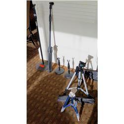 Qty 6 Misc Microphone Stands: Pedestal Base, Tripod, etc