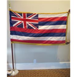 Hawaii State Flag on Pedestal Base (needs repair towards right side of flag)