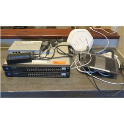 Qty 2 Linksys 24 Port Gigabit Switches, Dual Band Router, WiFi Access Point, etc