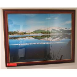 Beautiful And Free' Mountain Scene Art Print in Wood Frame
