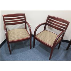 Qty 2 Wooden Armchairs w/ Upholstered Seat & Slatted Back