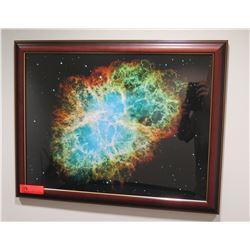Space Scene Art Print in Wood Frame