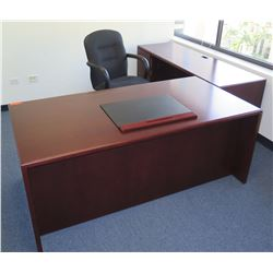 Qty 2 Wooden Desks w/ Locking Under Cabinet & Executive Office Rolling Armchair