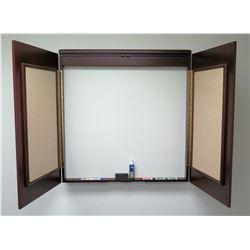 White Board Double Door Cabinet, Wall Mounted w/ Cork Inside Doors