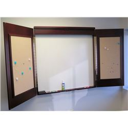 Wall Mounted White Board w/ Cork Double Doors (doors fold in to form a cabinet)