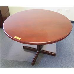Round Wooden Table w/ Pedestal Base