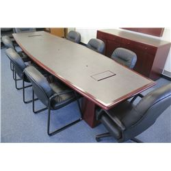 Conference Table w/  6 Stationary & 1 Armchair w/ Wheels