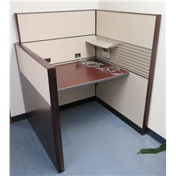 "Office Cubicle w/ 2 Tall & 1 Short Walls, Desk Section & Shelf 49""W"