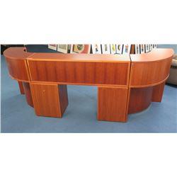 "Modular Wooden Reception Desk w/ Drawers & Curved Corner Units 124""Lx28""x44""H"