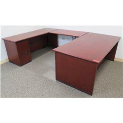 "Wooden Interlocking 'U' Shaped Desk w/ 5 Drawers 108""Lx72""Wx29""H"