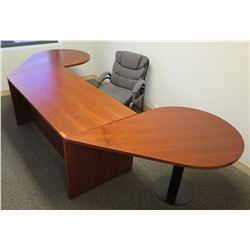 """Wooden Desk w/ 2 Inside Drawers, 2 Attached Oval Tables & Chair 135""""Lx30""""x28""""H"""