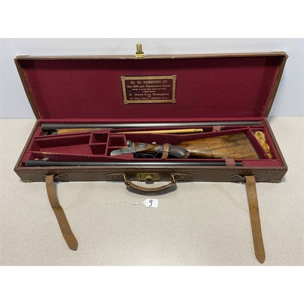 W.W. GREENER 12 GA SxS - 2 BARREL SET IN LEATHER PRESENTATION TAKEDOWN CASE