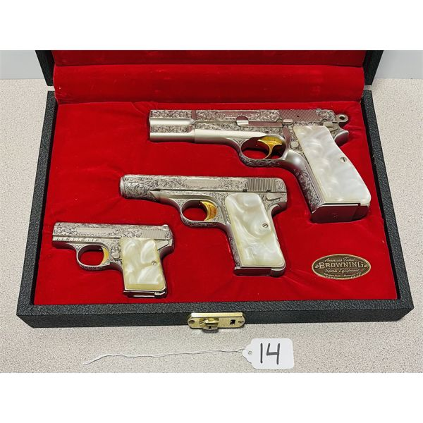 BROWNING CASE SET OF 3 RENAISSANCE PISTOLS IN 9 MM P,  .380 ACP AND .25 ACP
