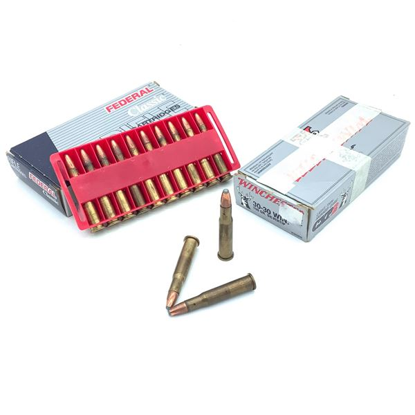 Assorted 30-30 Ammunition, Various Brands - 25 Rnds