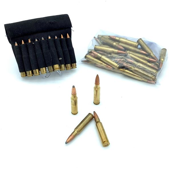 Assorted Loose 308 Ammunition -  47 Rnds & Elastic Cartridge Carrier