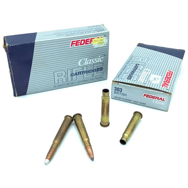 Assorted 303 British Ammunition & Casings - 15 Rnds, 4 Casings