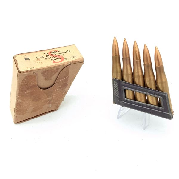8mm Mauser Ammunition with Stripper Clips - 10 Rnds