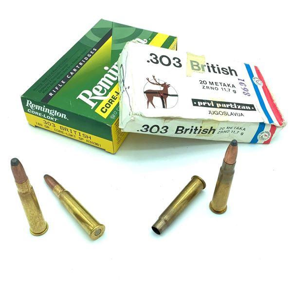 303 British Casings & Ammunition - 3 Empty Casing & 29 Rnds