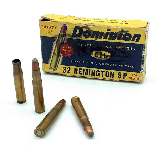 Assorted 32 Rem Ammunition & Casings - 18 Rnds & 2 Casings