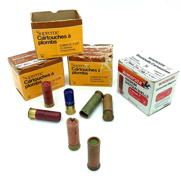 Assorted 12 Ga Shotgun Ammunition & Casings - 53 Rnds & 3 Casings