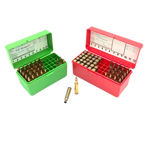 Assorted 6mm Rem Ammunition & Casings with MTM Cases- 52 Rnds & 28 Casings