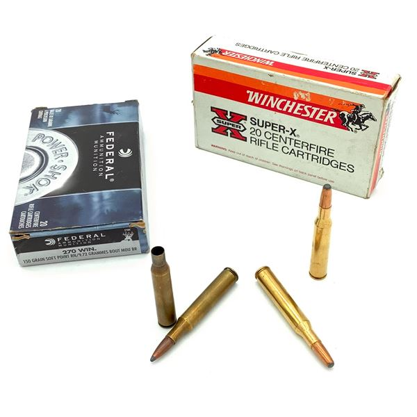 Assorted 270 Win Ammunition & Casings -  27 Rnds & 4 Casings
